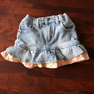 18 month Levis Jean skirt with floral accents
